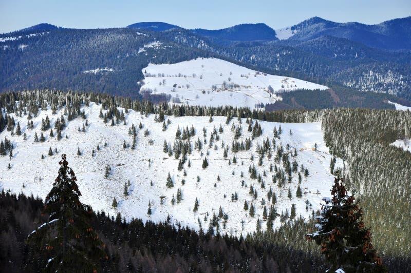 Download Ландшафт зимы в горах стоковое фото. изображение насчитывающей ель - 37927126