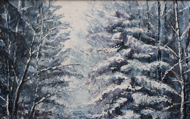 Download Ландшафт зимы леса, картина маслом Иллюстрация штока - иллюстрации: 63223009