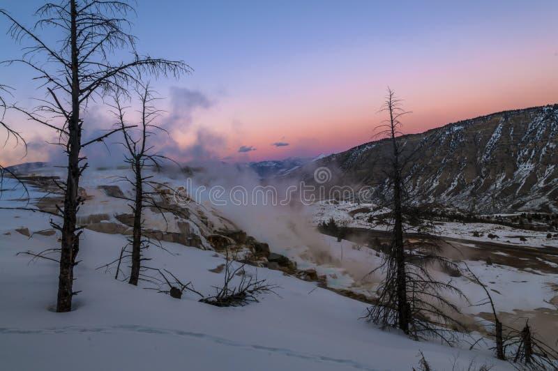 Ландшафт зимы Йеллоустона на заходе солнца стоковые фотографии rf