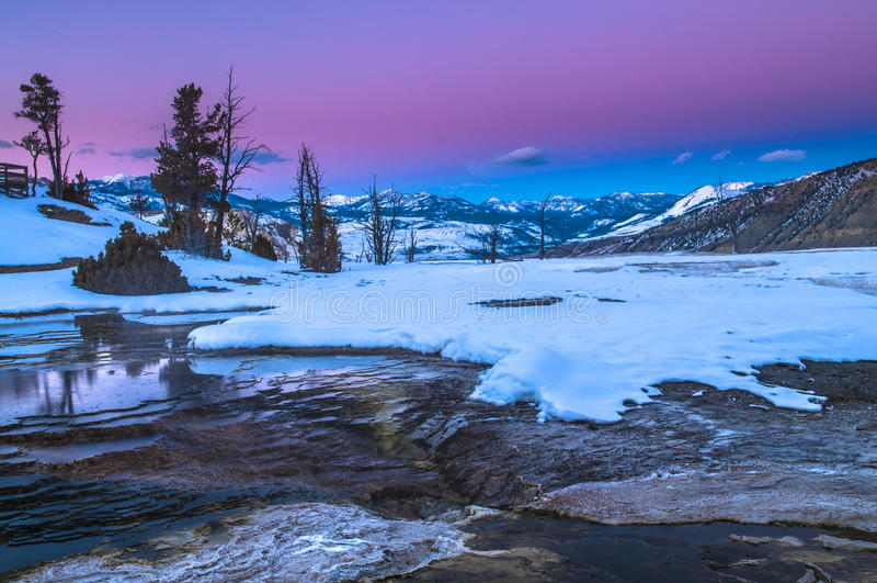 Ландшафт зимы Йеллоустона на заходе солнца стоковое фото