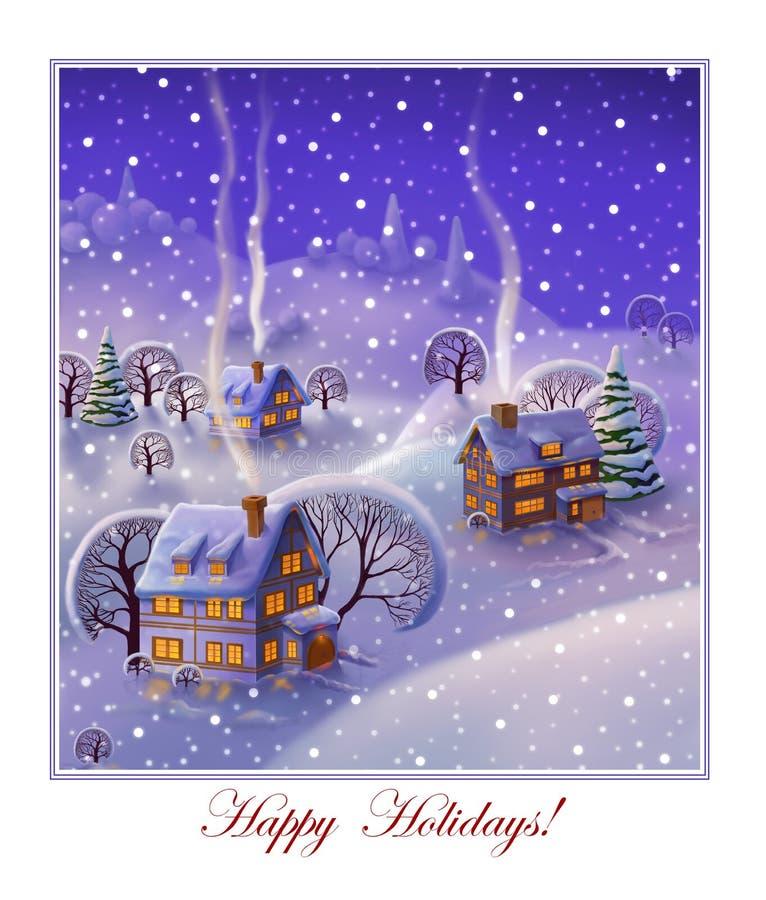 Ландшафт зимы, предпосылка рождества бесплатная иллюстрация