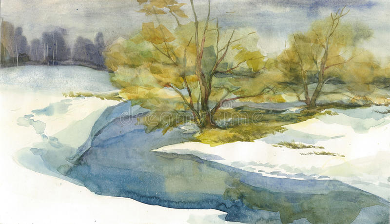 Ландшафт зимы с рекой стоковое фото rf
