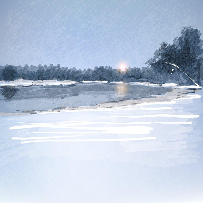 Ландшафт зимы иллюстрация вектора