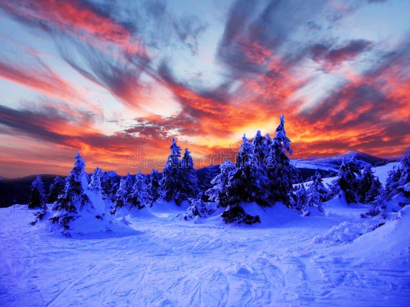 Ландшафт зимы Snowy в горах стоковые изображения rf