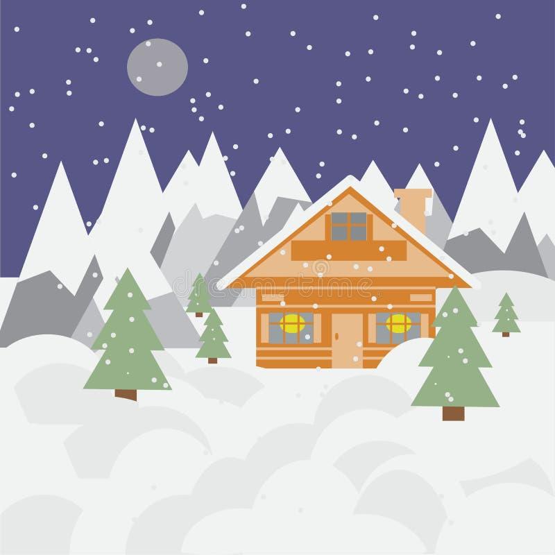 Ландшафт и шале лыжи в горах с снегом, снежностями и деревьями на ноче стоковая фотография rf