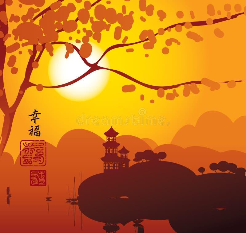Ландшафт Китая с пагодой иллюстрация вектора