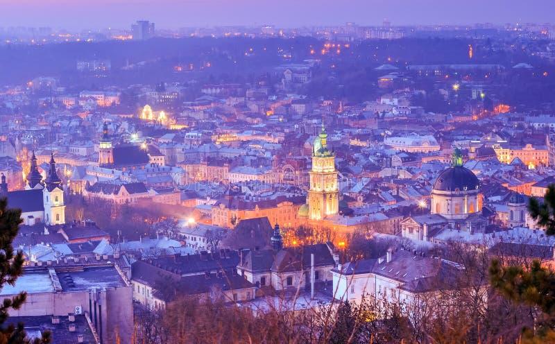 Ландшафт Львова ночи стоковые изображения rf