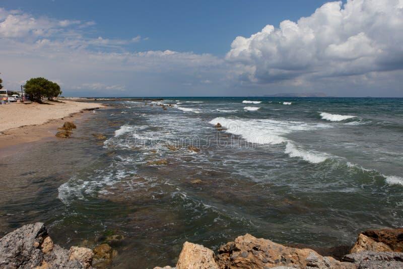 Ландшафт моря, Крит Analipsi стоковое фото