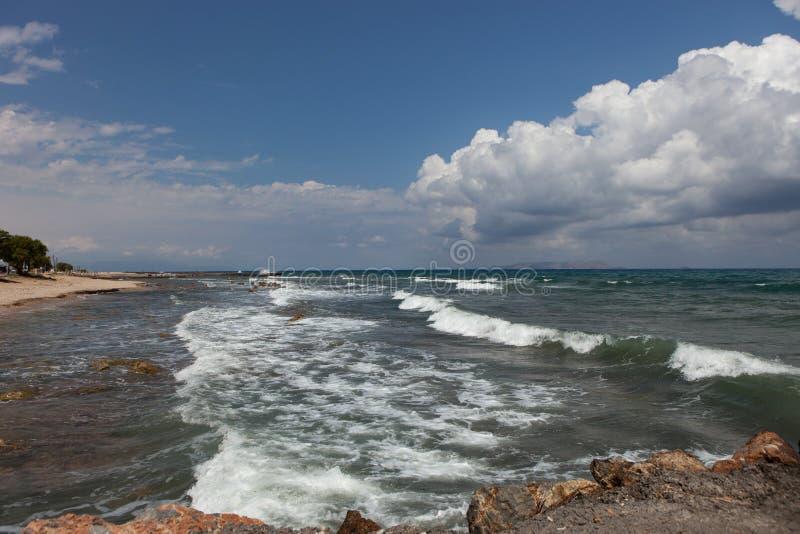 Ландшафт моря, Крит Analipsi стоковое изображение