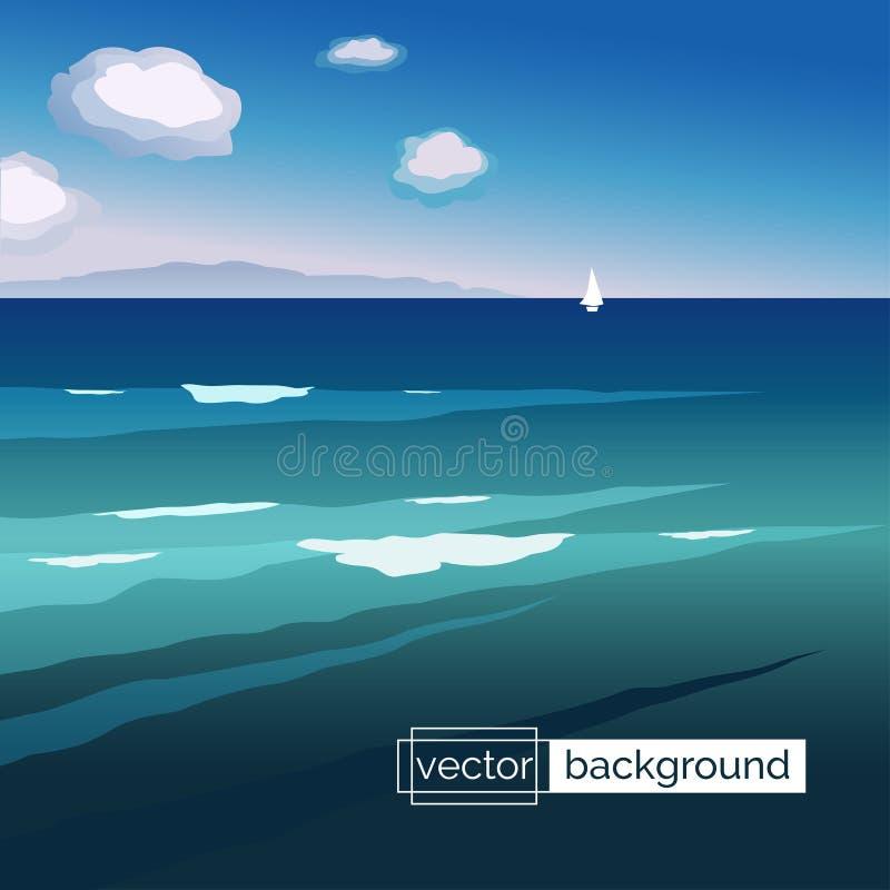 Ландшафт моря с волнами, шлюпкой, горами и облаками бесплатная иллюстрация