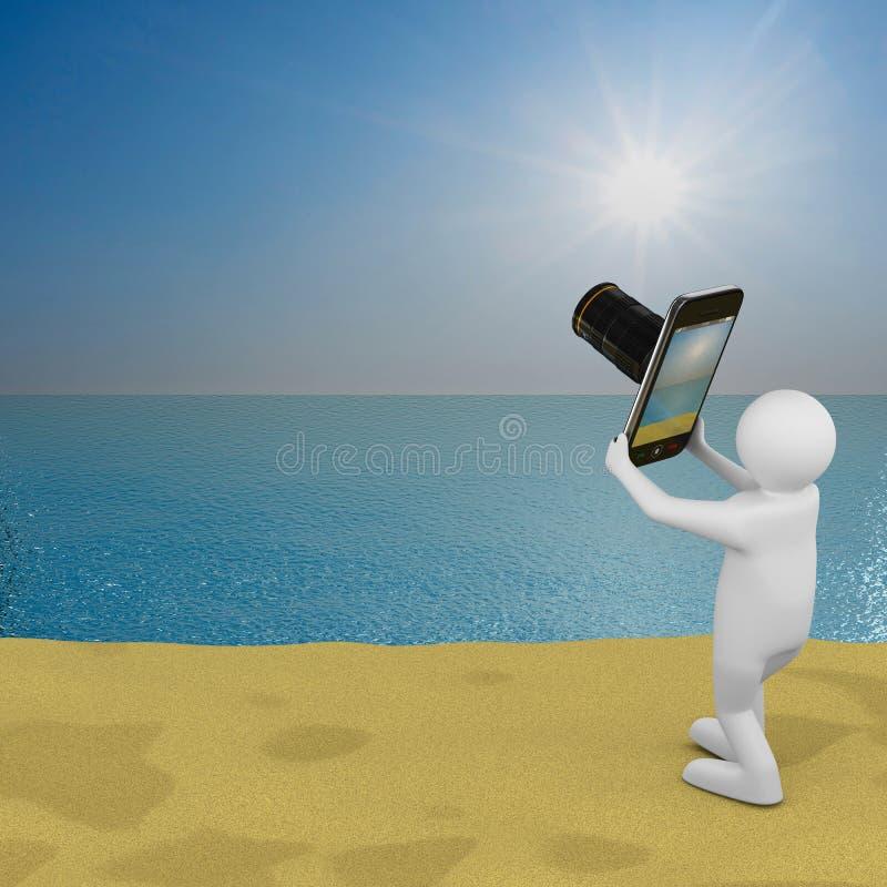 Ландшафт моря фотоснимок людей иллюстрация вектора