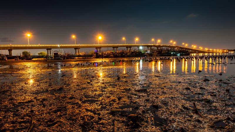 Ландшафт моста ночи с болотом в реке стоковая фотография rf