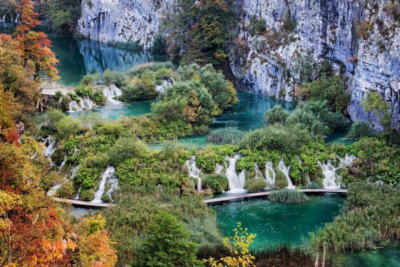 Ландшафт национального парка озер Plitvice в Хорватии стоковое изображение rf