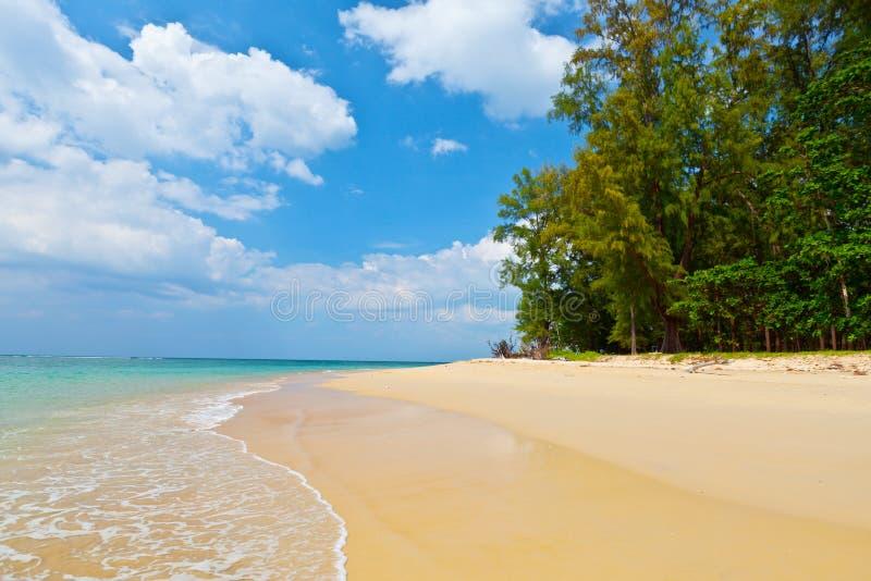 Ландшафт дневного времени с красивым пляжем и тропическим морем стоковая фотография rf