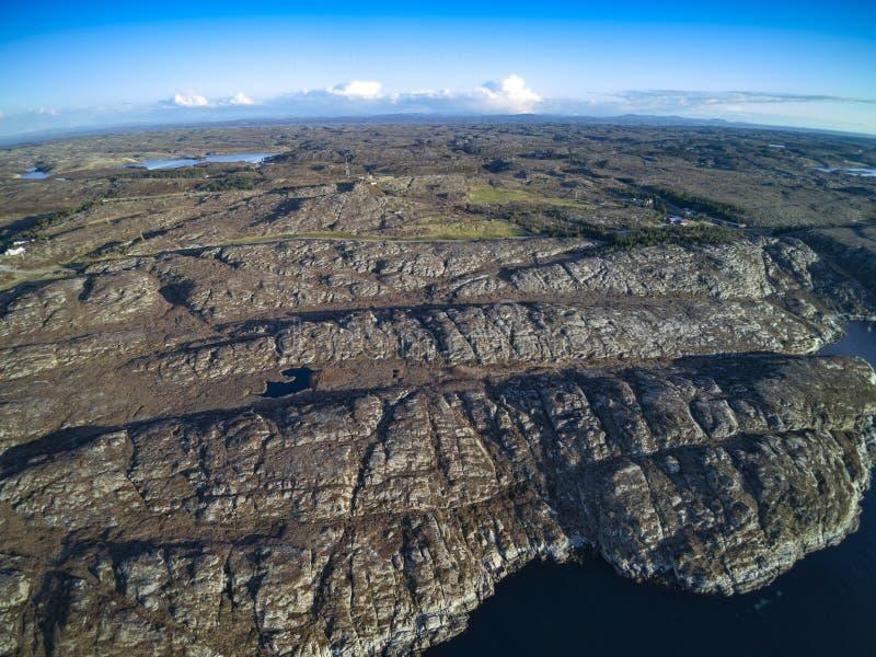 Ландшафт Норвегии красивой природы естественный, вид с воздуха стоковые изображения