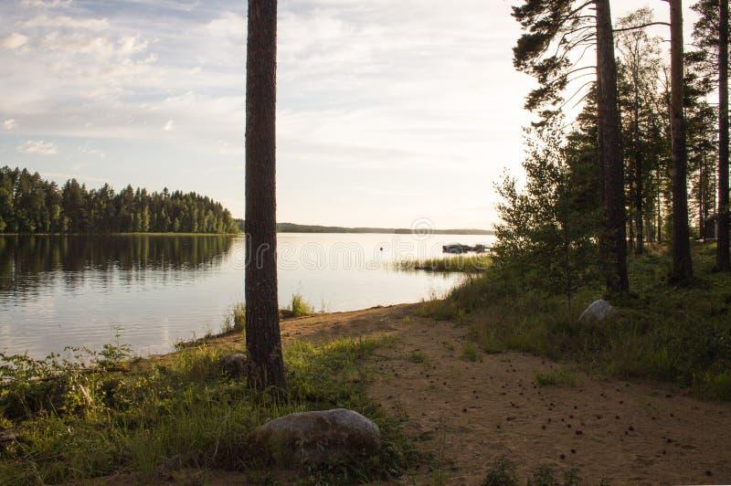 Ландшафт ночи в Финляндии стоковые фотографии rf