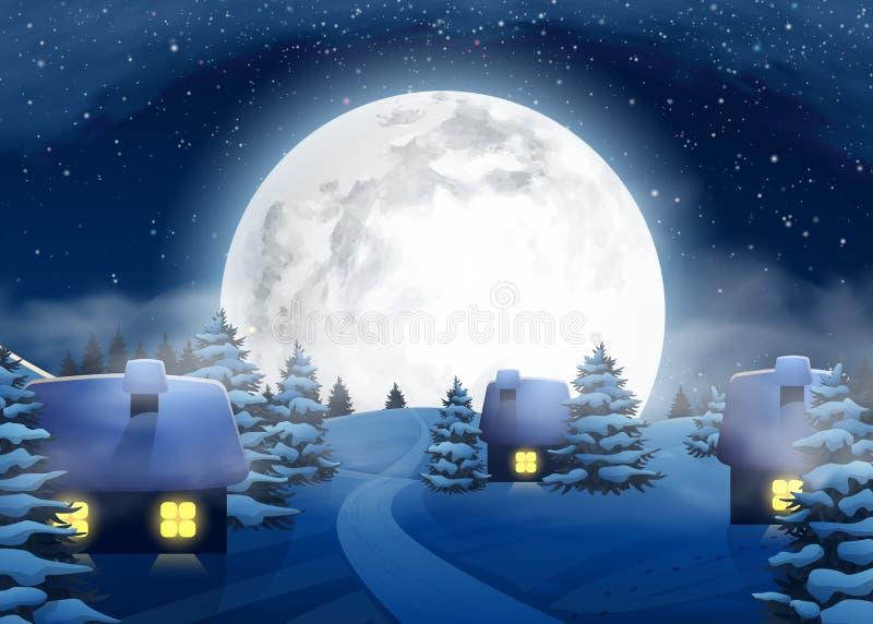 Ландшафт ночи полнолуния зимы рождества большой с небольшими домами иллюстрация штока