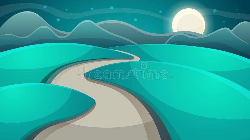Ландшафт ночи шаржа заволоките луна бесплатная иллюстрация