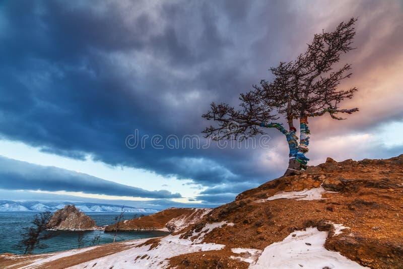 Ландшафт озера Байкал зимы на Olkhon стоковые изображения