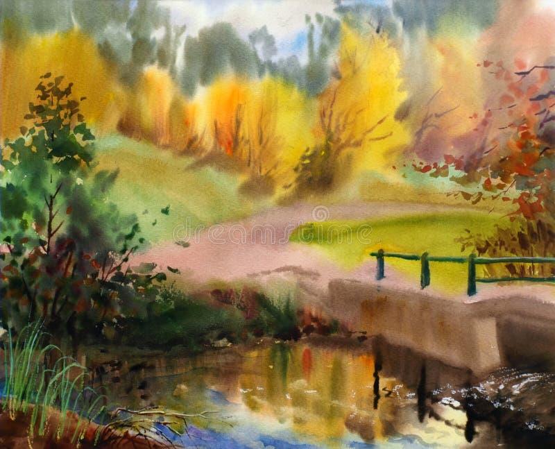 Ландшафт осени бесплатная иллюстрация