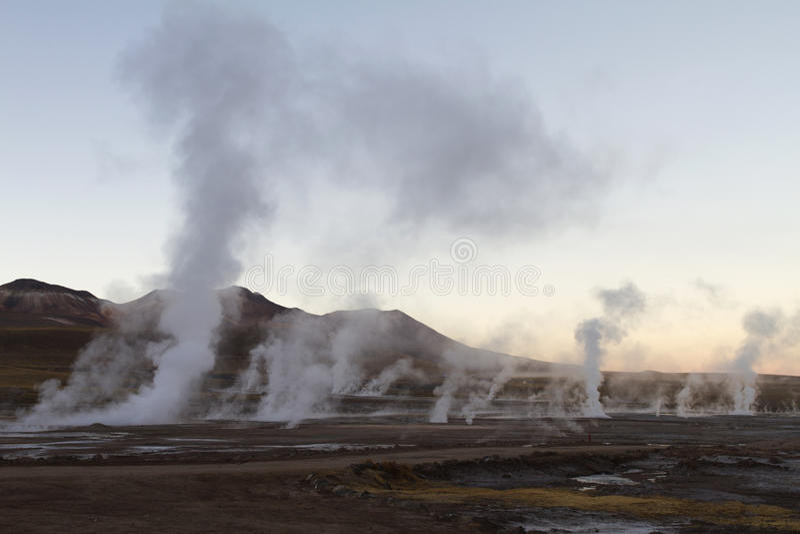 Ландшафт пара на гейзере Чили El Tatio стоковое фото rf