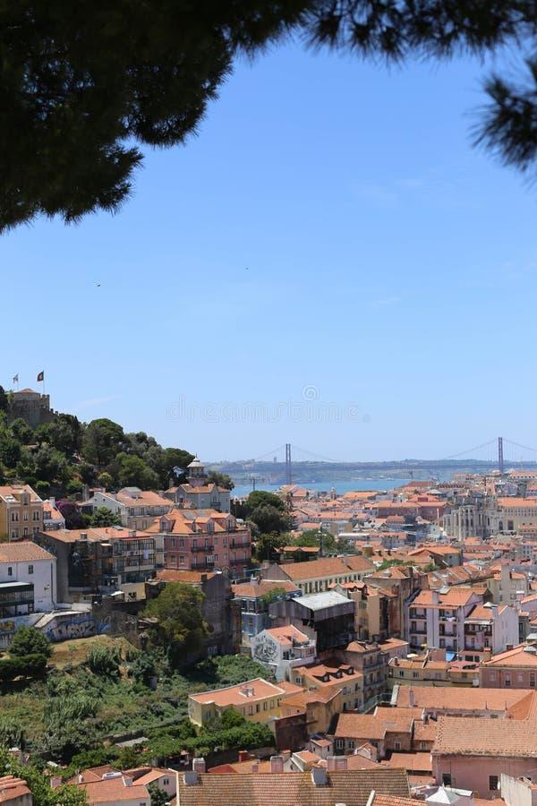 Ландшафт Португалия города и моря Лиссабона стоковое изображение