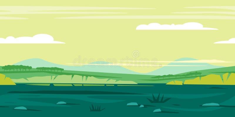 Ландшафт предпосылки игры лугов иллюстрация вектора
