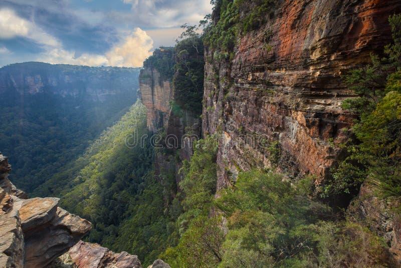 Ландшафт принятый в голубые горы Австралии стоковые фотографии rf