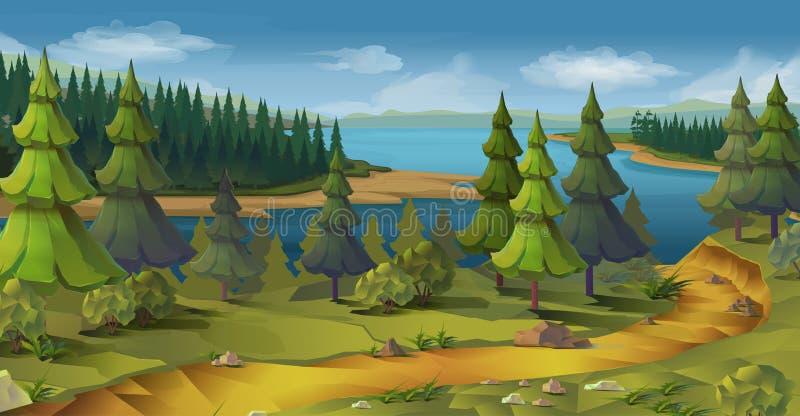 Ландшафт природы, сосновый лес иллюстрация вектора