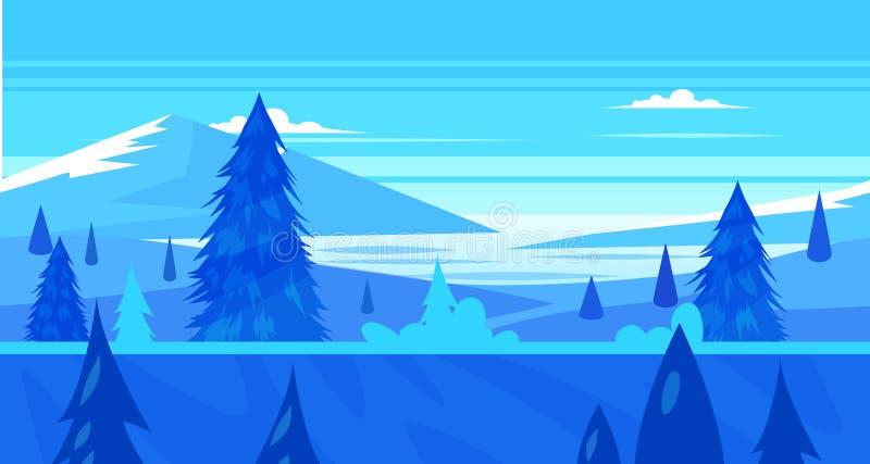Ландшафт природы шаржа безшовный с деревьями и рекой иллюстрация вектора