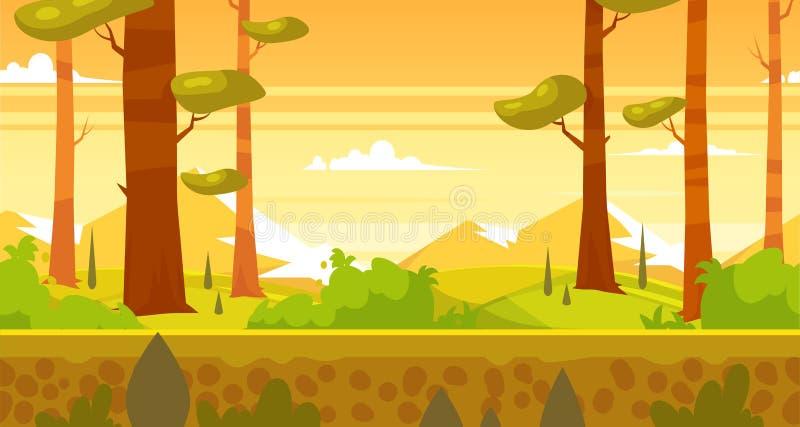 Ландшафт природы шаржа безшовный с лесом иллюстрация вектора
