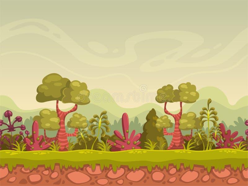 Ландшафт природы шаржа безшовный бесплатная иллюстрация