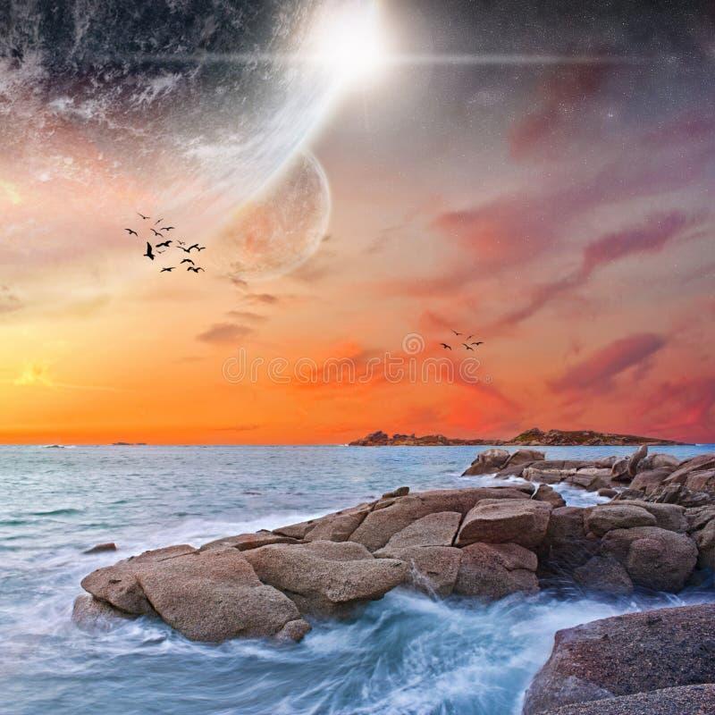 Ландшафт планеты пляжа иллюстрация штока