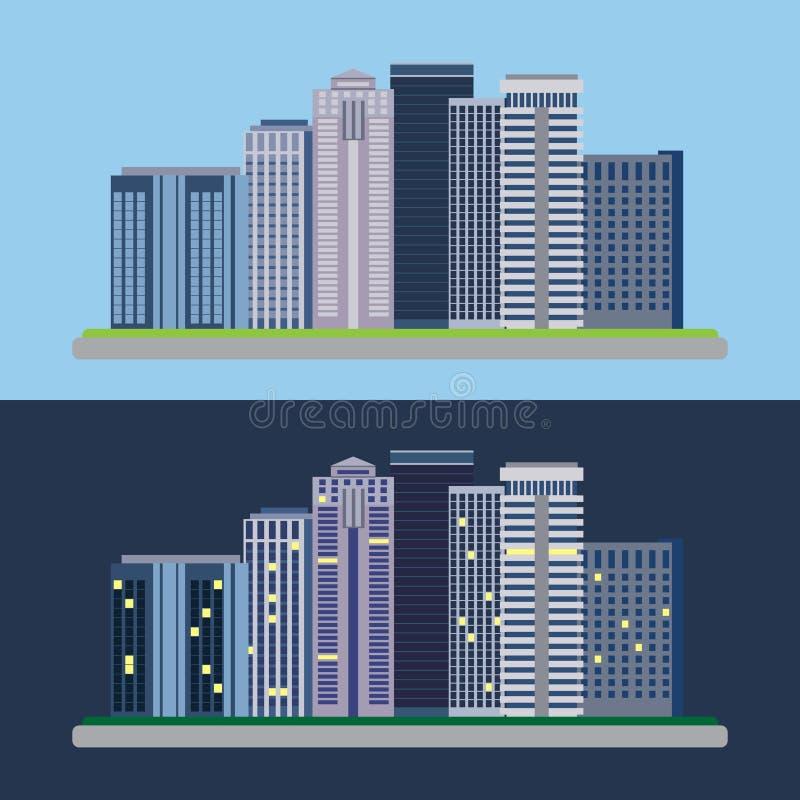 Ландшафт плоского дизайна городской все время иллюстрация штока