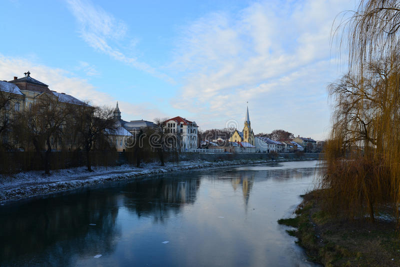 Ландшафт реки города Lugoj стоковая фотография rf
