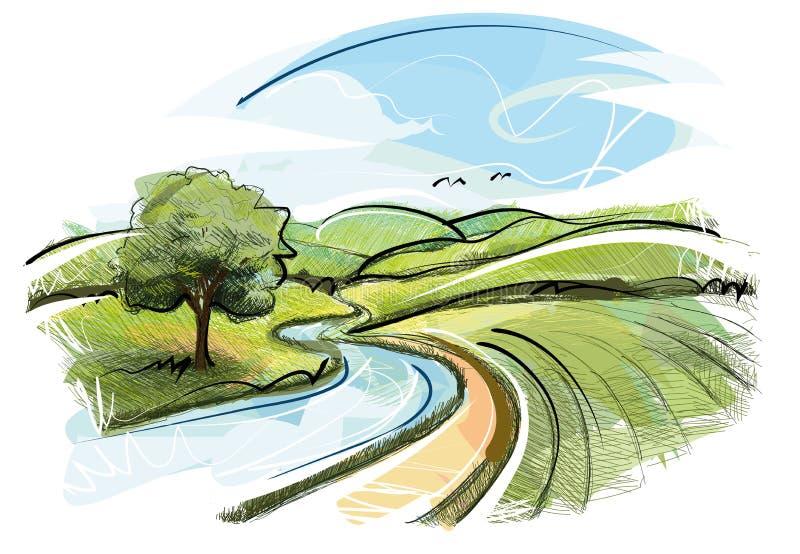 Ландшафт реки иллюстрация вектора