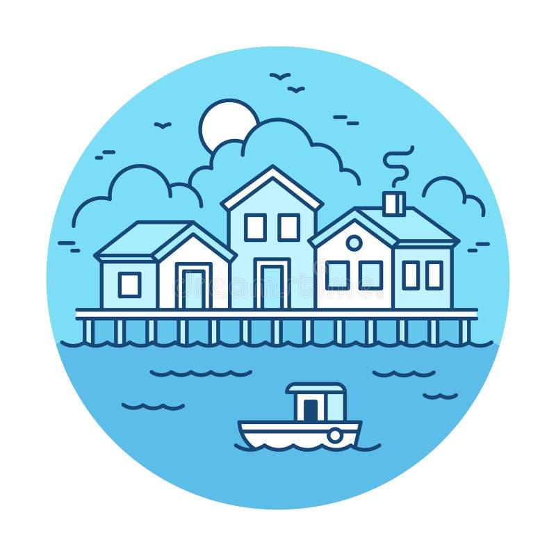 Ландшафт рыбацкого поселка иллюстрация штока