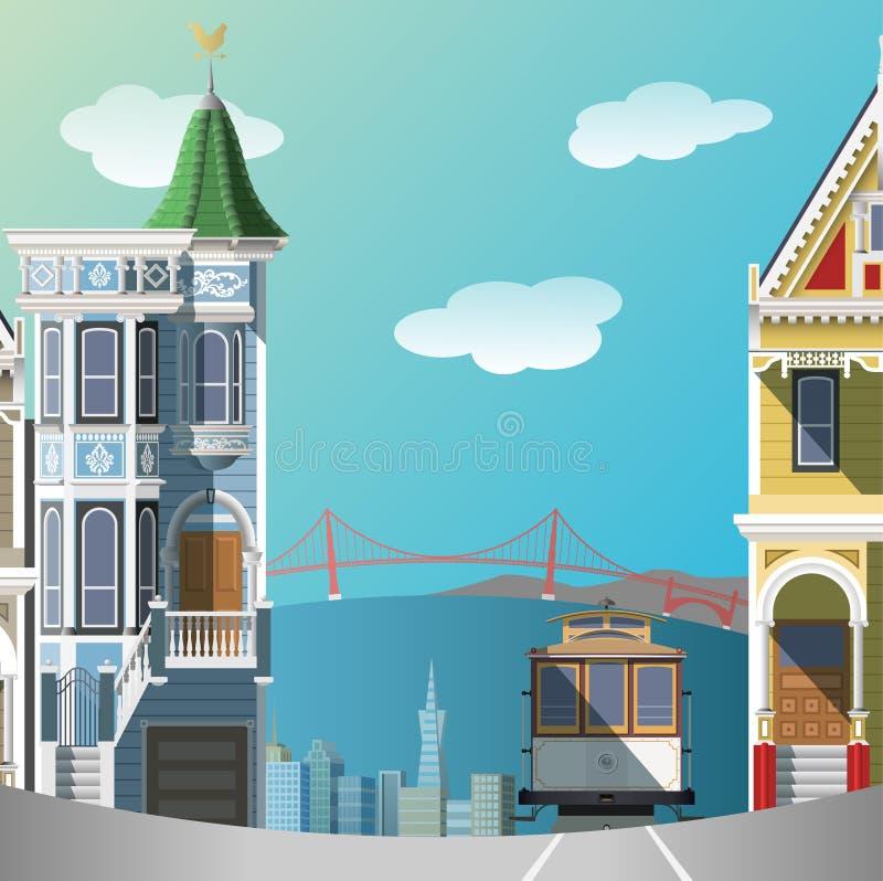 Ландшафт Сан-Франциско иллюстрация штока