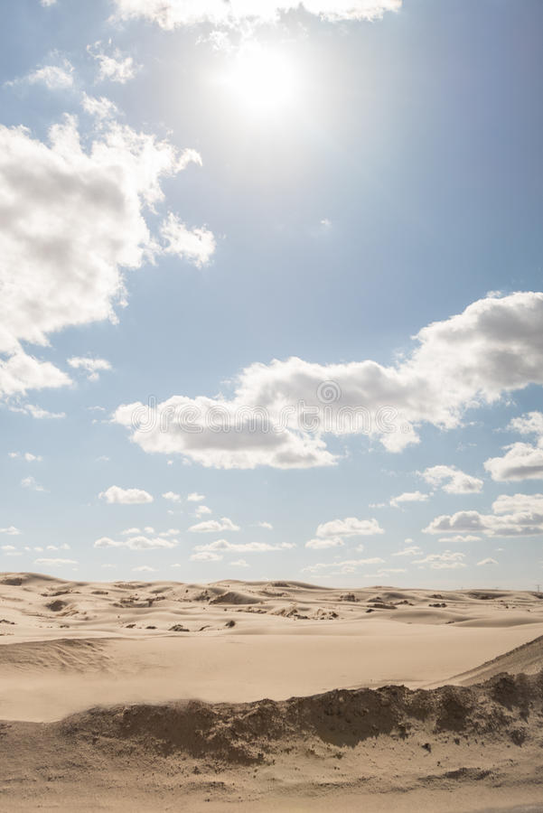 Ландшафт сиротливой пустыни в полдень стоковое изображение