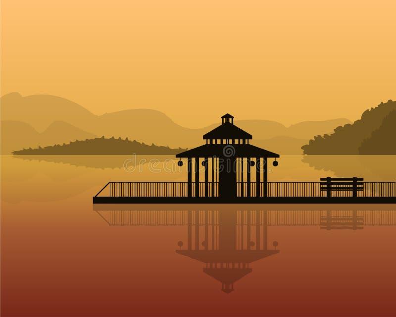 Ландшафт - силуэт дома на предпосылке гор, небе с отражением в воде иллюстрация вектора