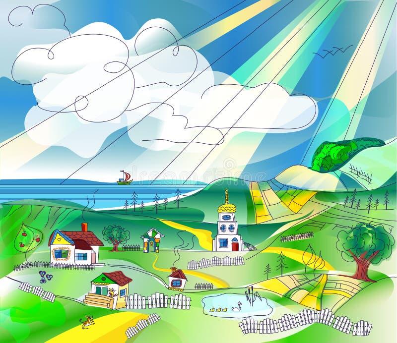 Ландшафт страны иллюстрация вектора