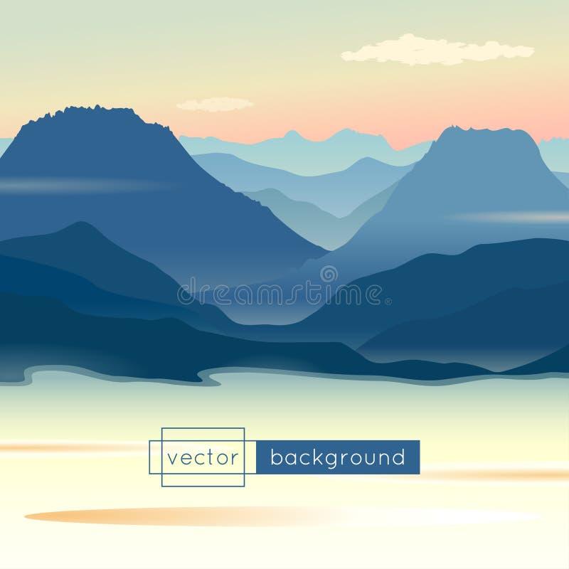 Ландшафт с восходом солнца, горами, озером и облаками иллюстрация вектора