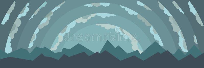 Ландшафт с горами и облаками иллюстрация штока