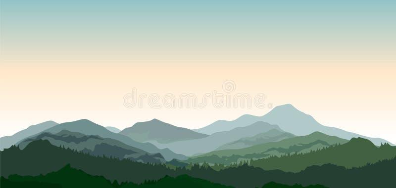 Ландшафт с горами против предпосылки голубые облака field wispy неба природы зеленого цвета травы белое Холмы coniferous иллюстрация штока