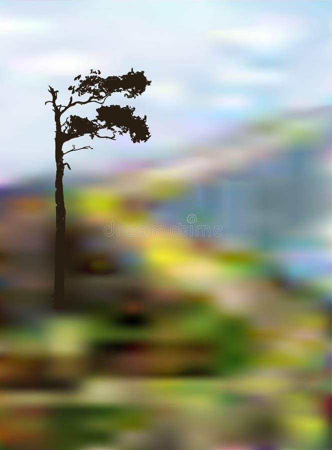 Ландшафт с горной тропой замотки и уединённым деревом стоковое фото rf