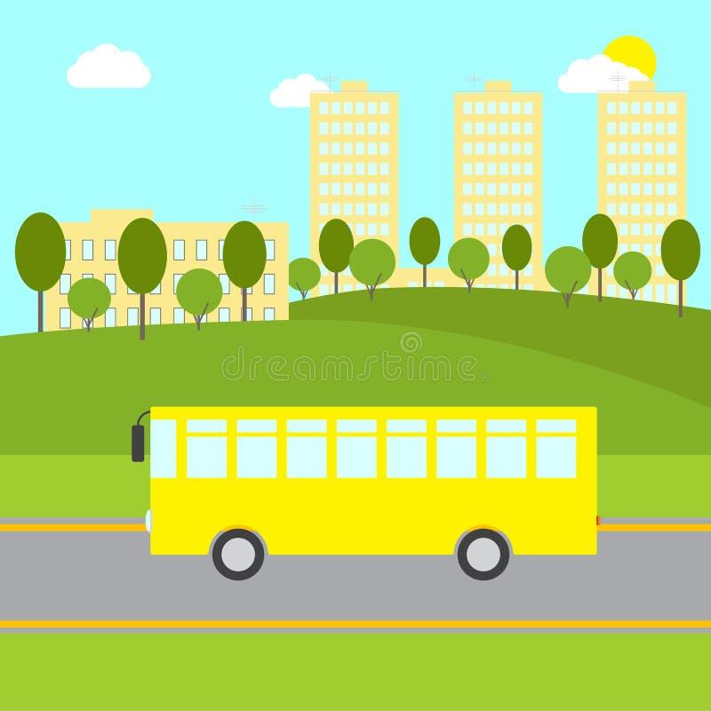 Ландшафт с желтой шиной бесплатная иллюстрация