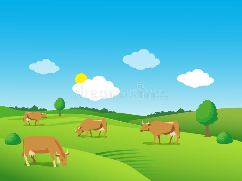 Ландшафт с зелеными лугом и коровами красивейшая долина иллюстрация штока