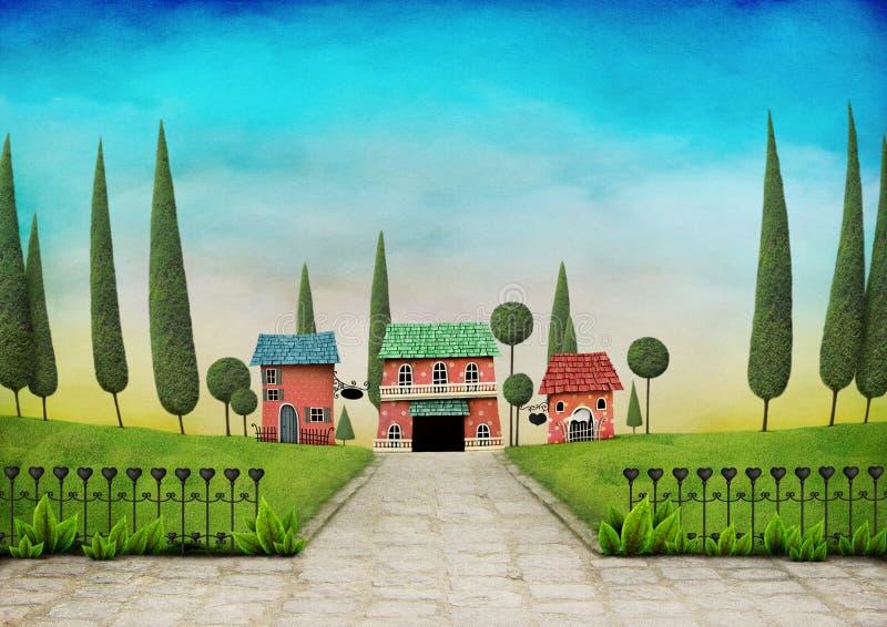 Ландшафт с домами и стробами бесплатная иллюстрация