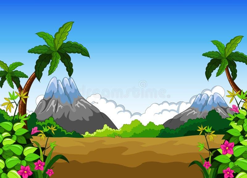 Ландшафт с предпосылкой захода солнца бесплатная иллюстрация
