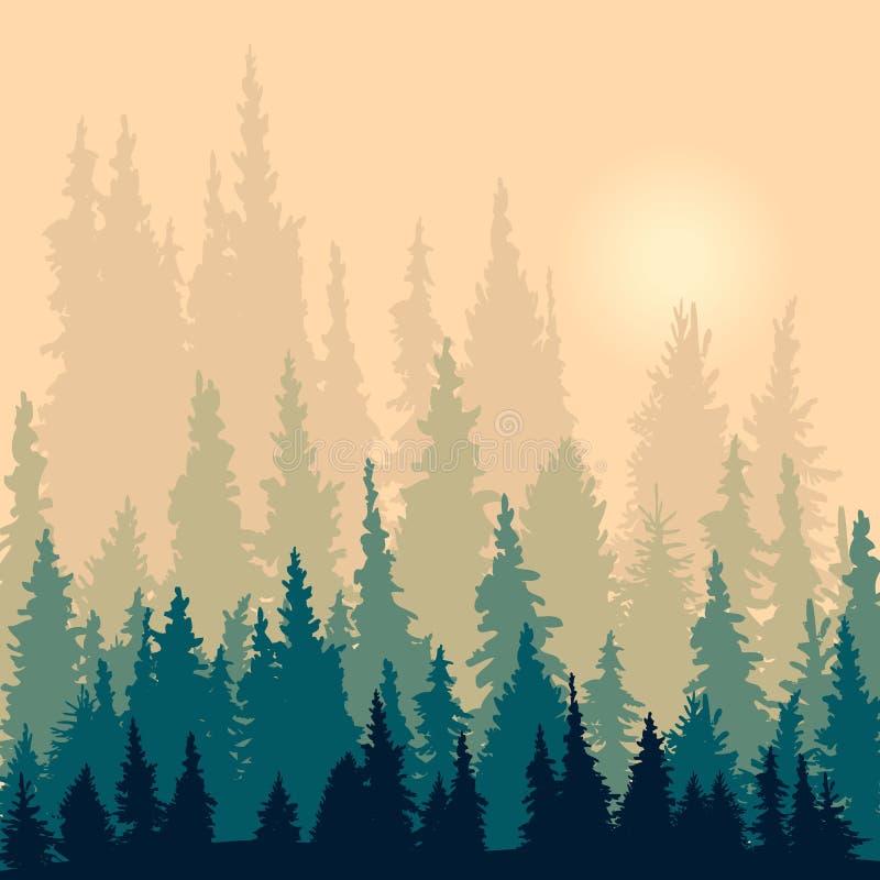 Ландшафт с силуэтами елей иллюстрация штока